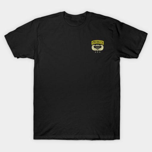 Airborne Paratrooper T-shirt White Jump Wings Airborne Tab Veteran