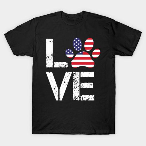 Love Dog Paw Print American Flag independence day USA