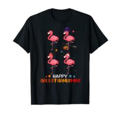 Flamingo Halloween And Merry Christmas Happy Hallothanksmas T-Shirt