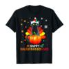 Black Cat Halloween And Merry Christmas Happy Hallothanksmas T-Shirt