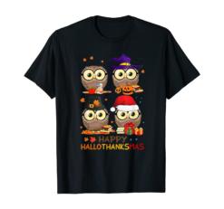 Owl Halloween And Merry Christmas Happy Hallothanksmas T-Shirt