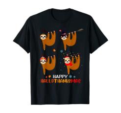 Sloth Halloween And Merry Christmas Happy Hallothanksmas T-Shirt