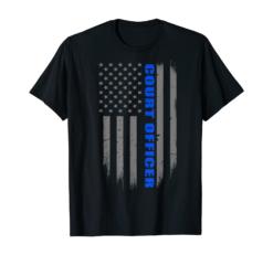 Court Officer Gift - Thin Blue Line American Flag T-Shirt