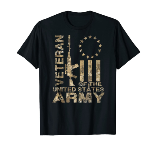 Distressed Betsy Ross Flag US Army Veteran Camo T-Shirt