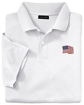 American Flag Classic White Polo