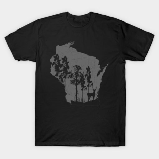 Camping T Shirt Proud Wisconsin Deer Hunter State Map Outline Camper Campfire Gifts Tee