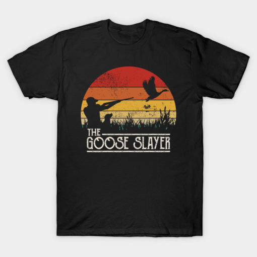 Camping T Shirt Vintage Sunset Retro Style Goose Hunting Goose Slayer Camper Campfire Gifts Tee