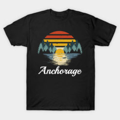 Camping T Shirt Anchorage Alaska Family Vacation Hunting Group Retro Camper Campfire Gifts Tee