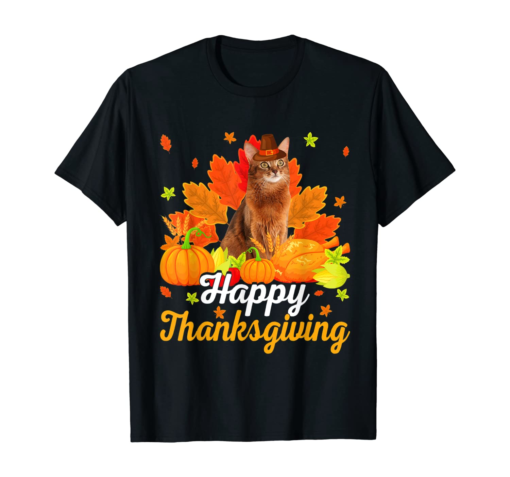 Funny Somali Cat Tee Happy Thanksgiving Gifts T-Shirt