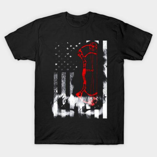 Bow Hunting US Flag Shirt Deer Hunter